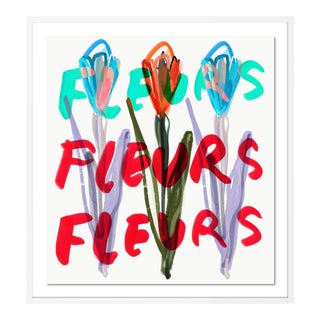 Fleurs Fleurs Fleurs by Annie Naranian in White Frame, Large Art Print For Sale