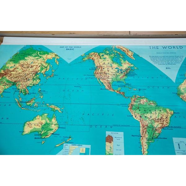 Vintage 60s Costello Pull Down Map of World - Image 4 of 9