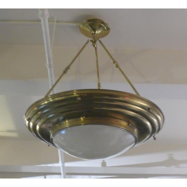 Art Deco 1920s Antique Brass Pendant For Sale - Image 3 of 3