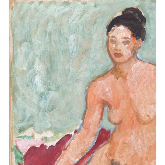 1950s Victor DI Gesu, 'Seated Nude', California Post-Impressionist, Louvre, Lacma, Circa 1955 For Sale - Image 5 of 8