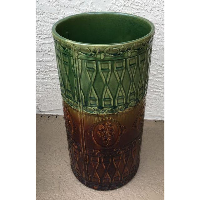 Antique Majolica Art Pottery Umbrella Stand For Sale - Image 5 of 9
