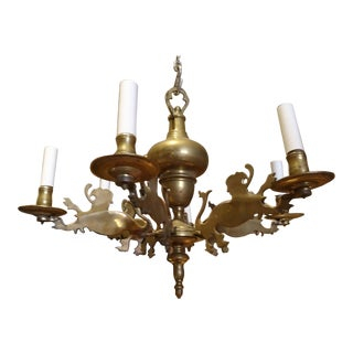 19th Century Belgium Brass Chandelier For Sale