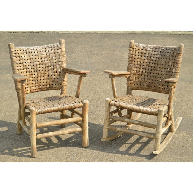 High Quality Rustic Old Hickory 2 Piece Set Consisting of Armchair + Rocker