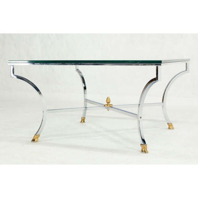 "Hoof Brass Feet Chrome and 3/4"" Glass Square Coffee Table For Sale - Image 9 of 10"