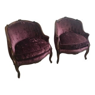 Late 19th Century Louis XV-Inspired Eggplant Velvet Bergere Marquise Chairs- A Pair For Sale