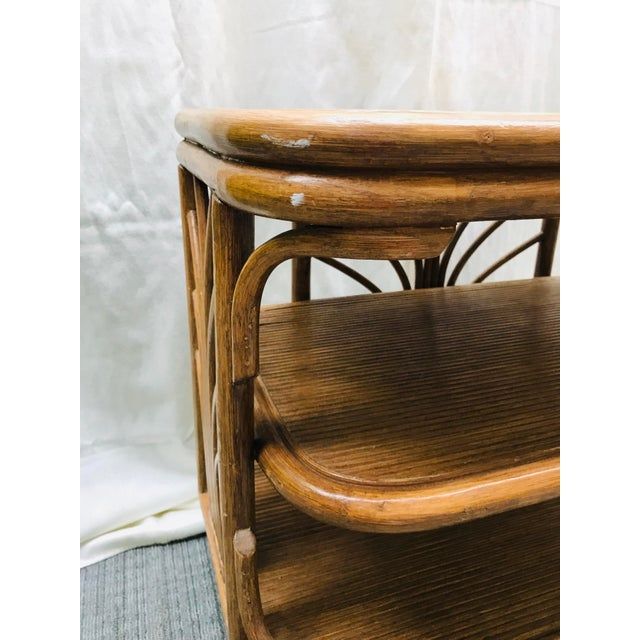Bamboo 1980s Boho Chic Swivel Split Bamboo Rattan Console Table For Sale - Image 7 of 12