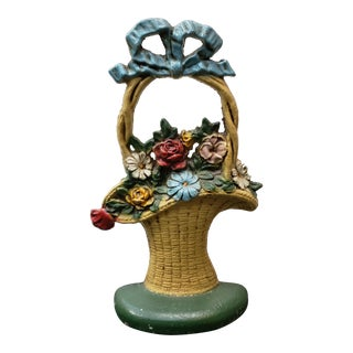 Circa 1920 French Flower Basket Cast Iron Doorstop For Sale