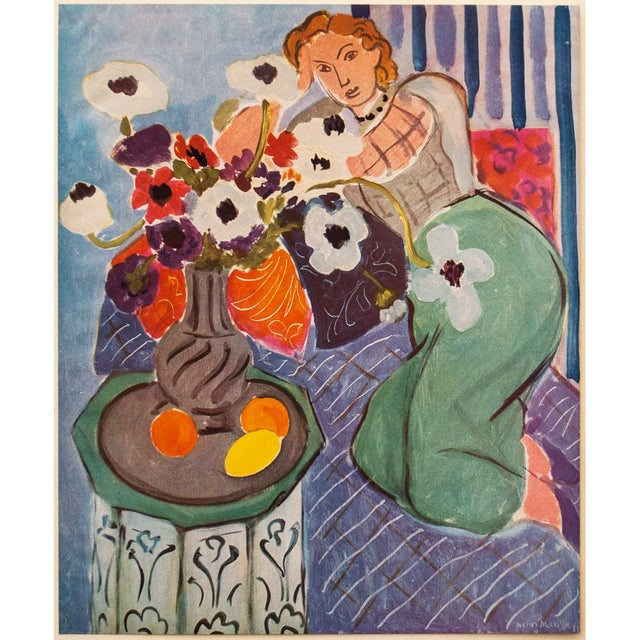 """A beautiful original period tipped-in offset lithograph after painting """"Blue Odalisque"""" (1937) by Henri Matisse. Signed in..."""