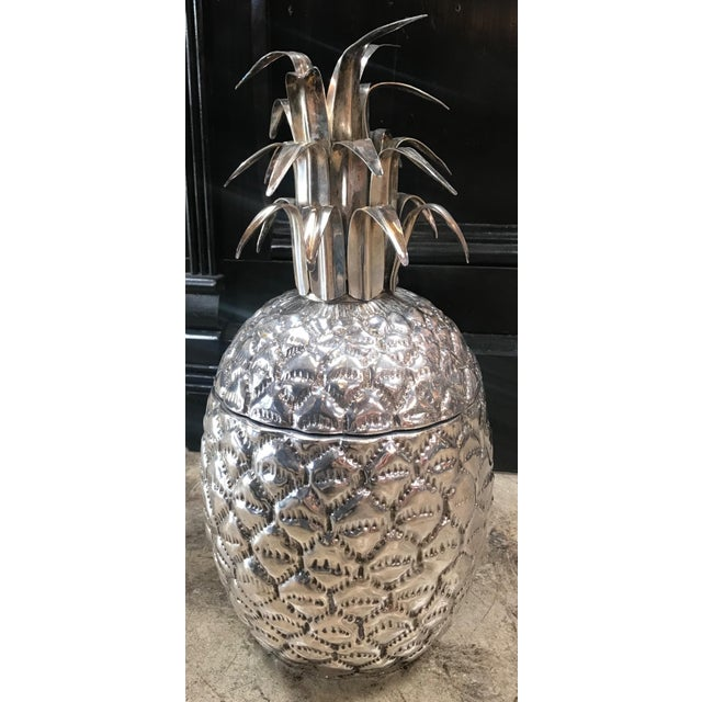 Silver Plated Pineapple Ice Bucket Made in Florence, Italy by Teghini. Circa 1970s.