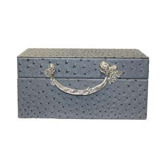 Oriental Handle Hardware Gray Rectangular Container Box Large For Sale