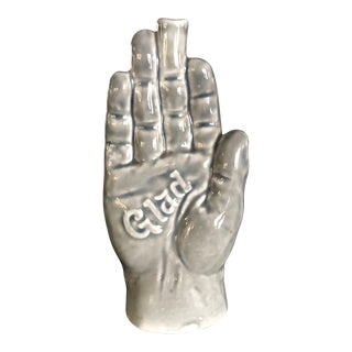 Vintage German Grey Contemporary Human Hand Vase For Sale