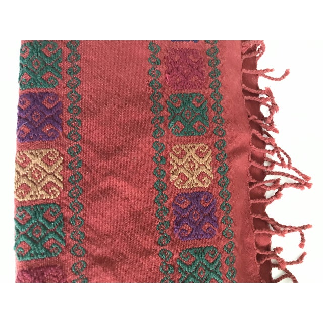 Boho Embroidered Table Runner With Fringe For Sale - Image 4 of 8