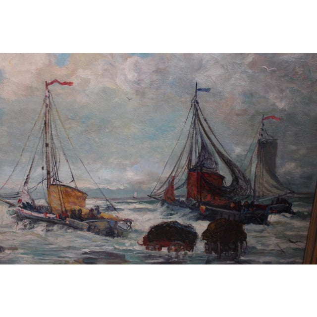 Antique Harbor with Boats Painting - Image 4 of 6