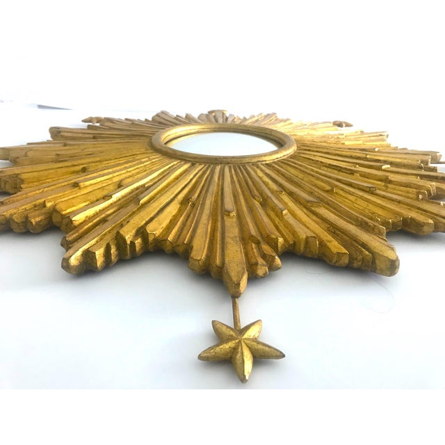 Exquisite Starburst Mirror With Antique Gold Leaf Finish For Sale - Image 11 of 13