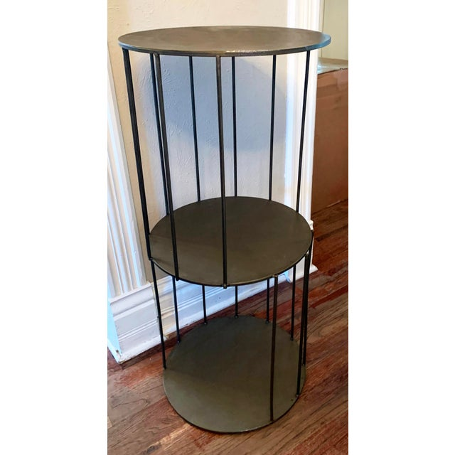 Modern Kalalou Tall Metal Round Side Table For Sale - Image 3 of 13
