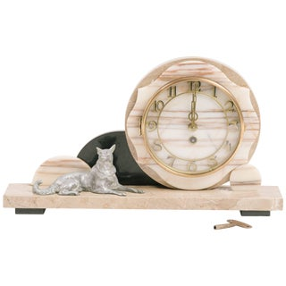 1930s Deco Marble Clock With Dog For Sale
