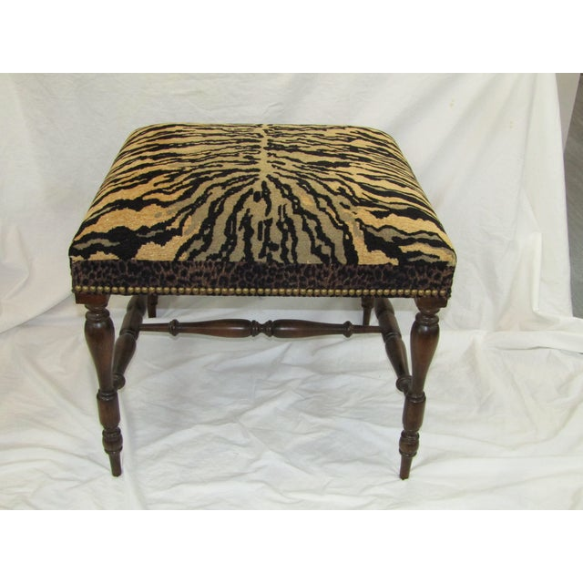 1970s Vintage Tiger Upholstered Bench For Sale - Image 4 of 4