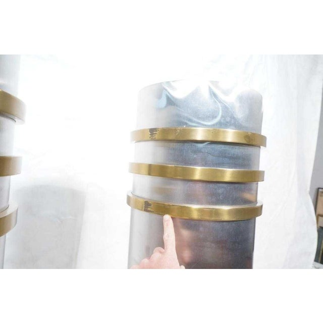 Metal Modernist Art Deco Stainless Steel and Bronze Decorator Columns - a Pair For Sale - Image 7 of 11