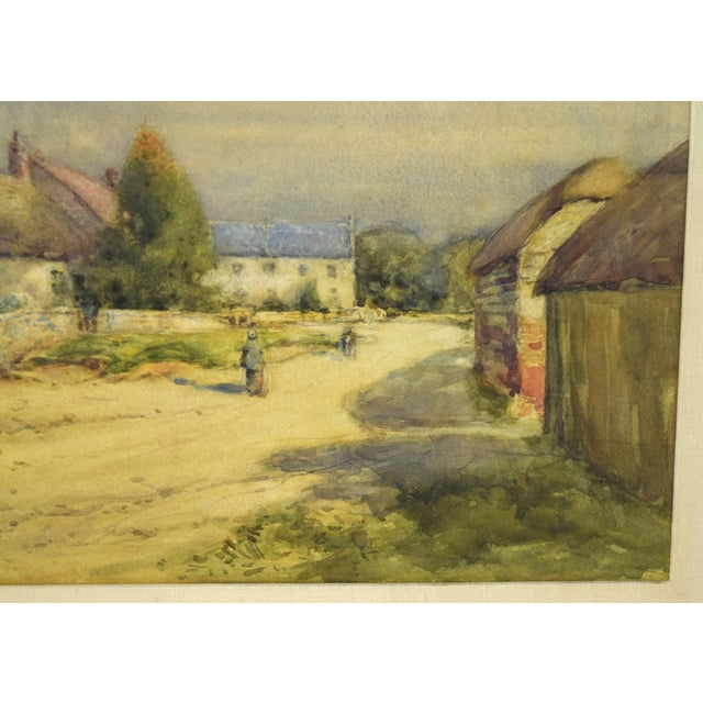 Early 20th Century Antique Alexander MacBride British Village Watercolor Painting For Sale - Image 4 of 10