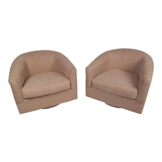 Swiveling Lounge Chairs, a Pair For Sale