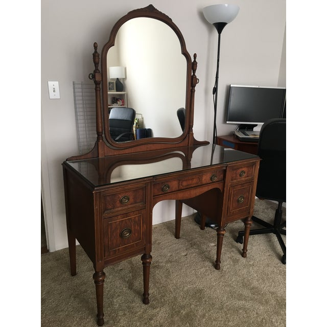 Antique vanity for sale. Was produced in 1933 in New York. Something unique  about - 1933 Antique Vanity With Mirror Chairish