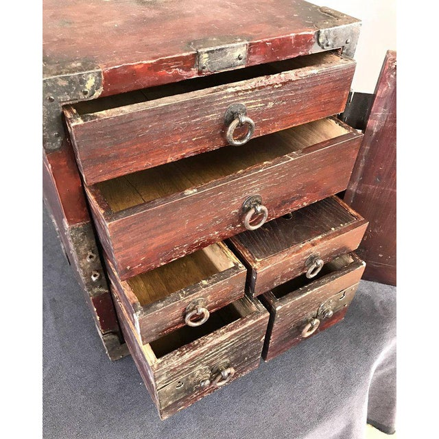 Antique Compact Chinese Seaman's Chest With Locks and Key For Sale - Image 10 of 13