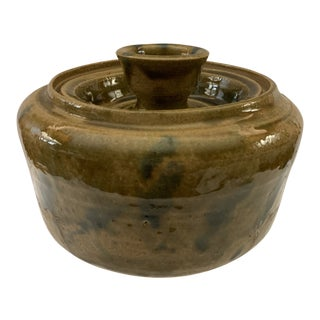 Late 20th Century Green Glazed Art Pottery Container For Sale