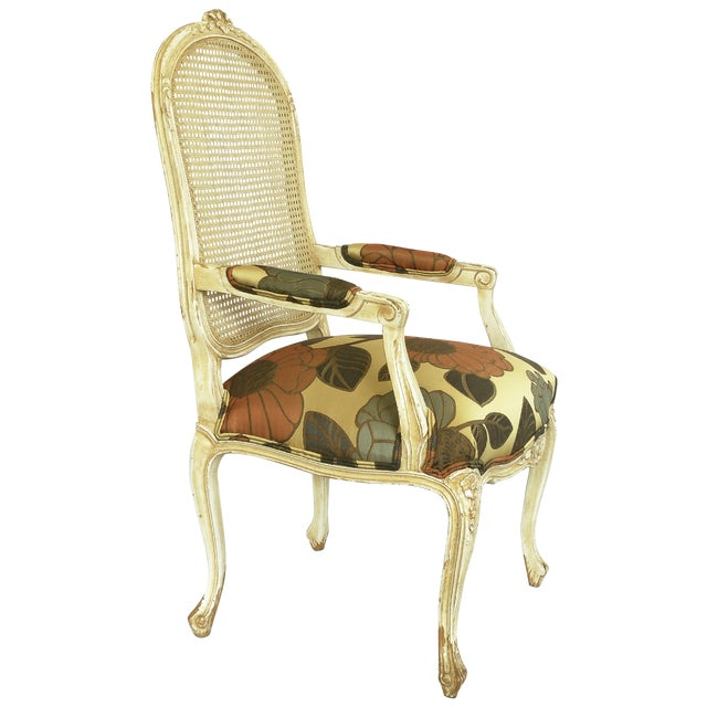 Vintage French Carved Cane Back Arm Chair For Sale