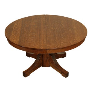 """Mission Oak Antique 54"""" Round Dining Table with 3 Leaves For Sale"""