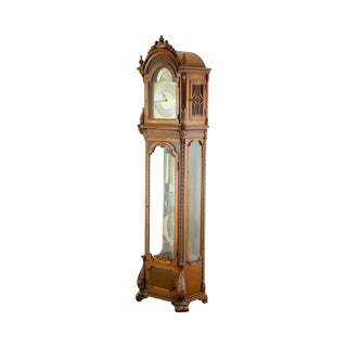 Colonial Carved Mahogany 5 Tube Grandfather Clock For Sale