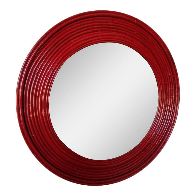 Round Chinoiserie Red Glossy Rattan Mirror - Image 1 of 3