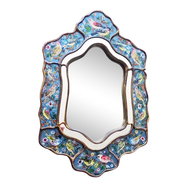 Reverse Glass Hand-Painted Bird Mirror For Sale