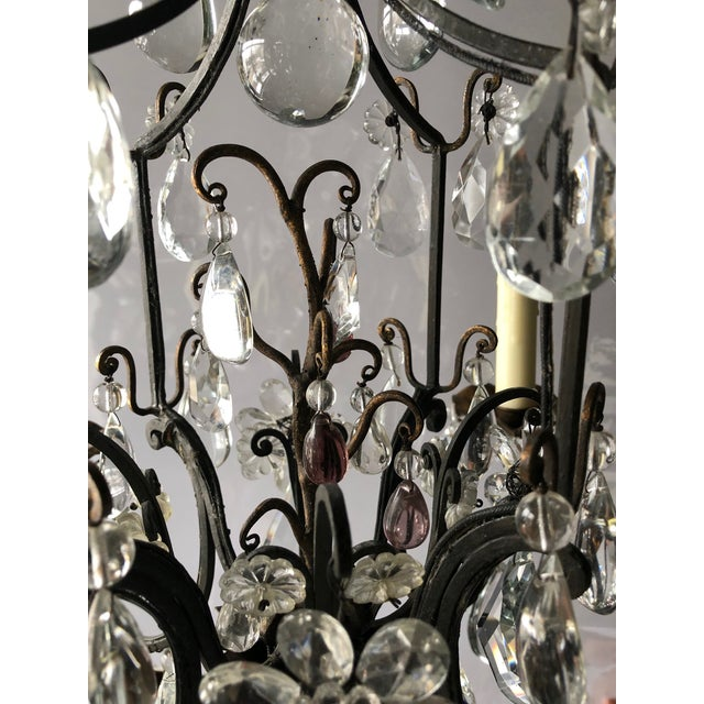 Vintage French Black Iron and Crystal Chandelier For Sale - Image 10 of 13