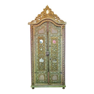 18th Century Vintage Italian Carved Wardrobe For Sale