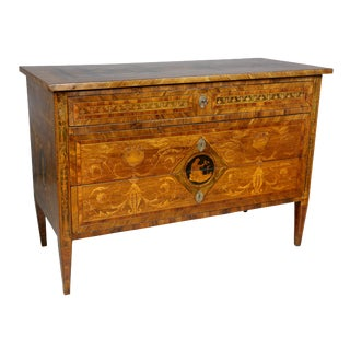 Italian Neoclassical Walnut and Inlaid Commode For Sale