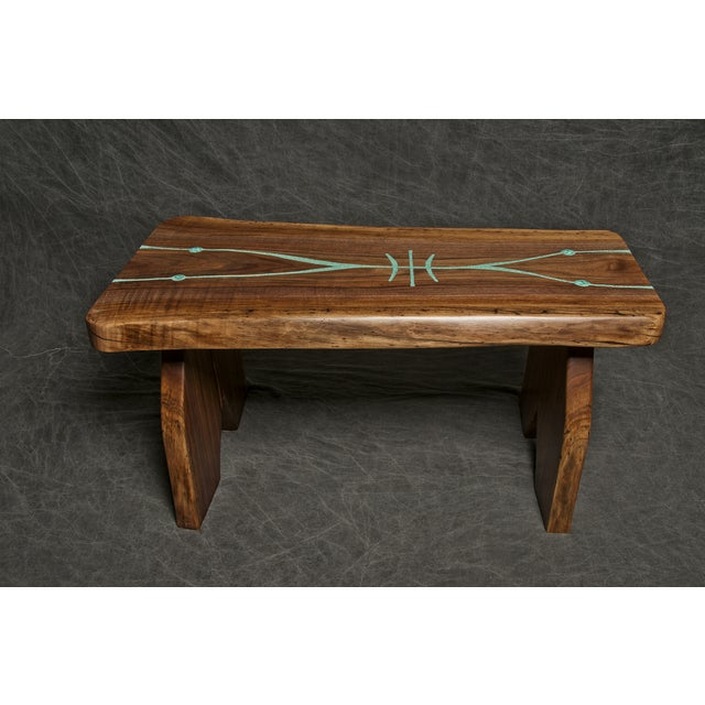 Black Walnut Live Edge Turquoise Inlay Slab Bench - Image 2 of 6