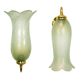 Antique Pale Green Textured Glass Bellflower Scroll Arm Sconces - a Pair For Sale