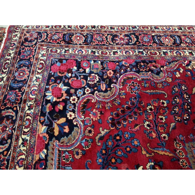 1910s handmade antique Persian Mashad rug 10.2' x 13.9' For Sale - Image 9 of 11