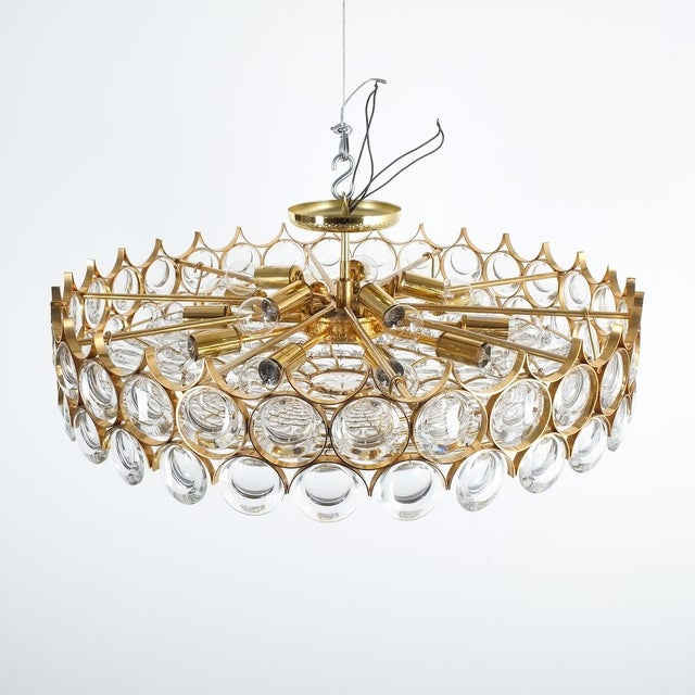 Palwa Palwa Xxl Refurbished Gold Plated Brass and Glass Semi Flush Mount Lamp For Sale - Image 4 of 13