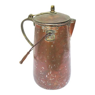 19th-C. French Copper Coffeepot For Sale