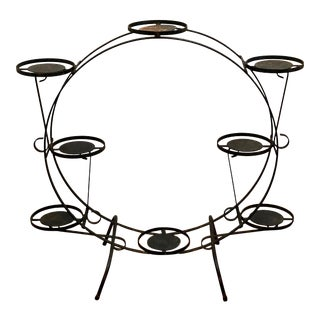 1930s Art Deco Circular Iron Plant Stand For Sale