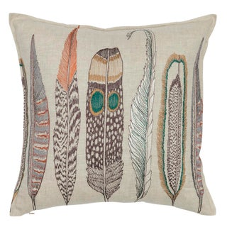 Americana Large Feathers Linen Pillow For Sale