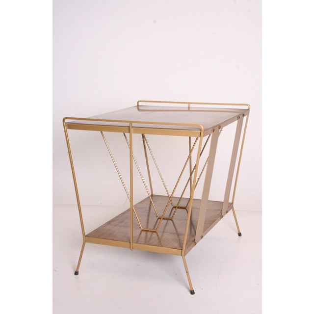 Vintage Brown Metal Record Rack Stand For Sale - Image 10 of 11