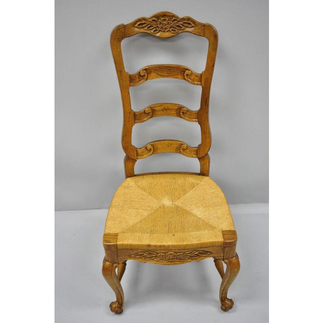 Bernhardt Country French Woven Rush Seat Oak Wood Ladder Back Dining Chair For Sale - Image 12 of 13