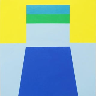 "Martha Hughes ""Scene 58"" Geometric Interior Space Acrylic Painting in Blue, Yellow, Green For Sale"