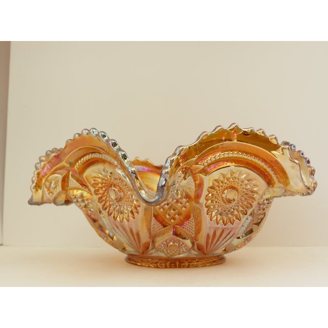 Imperial Glass Co. Marigold Ruffled Glass Bowl - Image 6 of 6