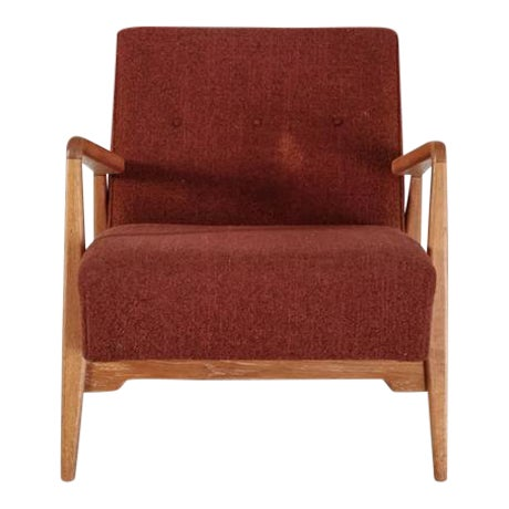 Jens Risom Walnut Lounge Chair with Red-Brown Wool Cushions, USA, 1950s For Sale