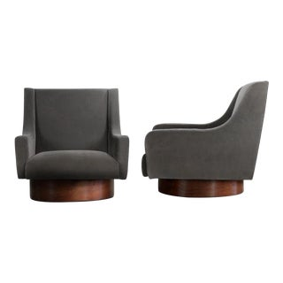 Swivel Lounge Chairs - Walnut and Charcoal Cotton Velvet - A Pair For Sale