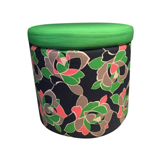 Preppy Patterned Ottoman With Built-In Storage - Image 1 of 4