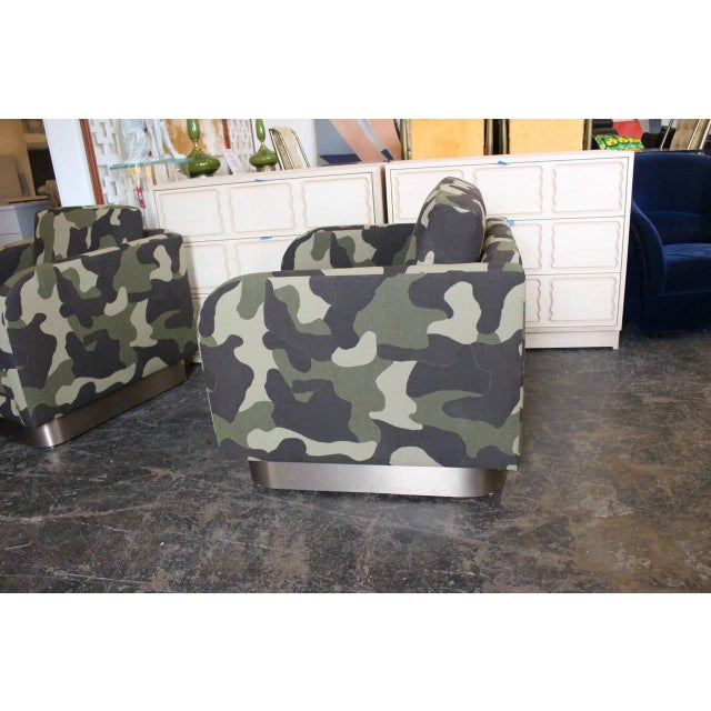 Camouflage Cube Chairs With Bronze Plith - Pair - Image 7 of 8